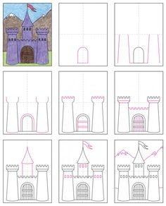 Draw a Midieval Castle · Art Projects for Kids Castle Drawing, Castle Painting, Art 2nd Grade, Castle Crafts, Fairy Tale Crafts, Castle Project, Kids Castle, Drawing Lessons For Kids, Kindergarten Art Projects