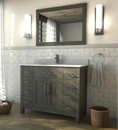 Kent 42 inch French Gray Finish Bathroom Vanity
