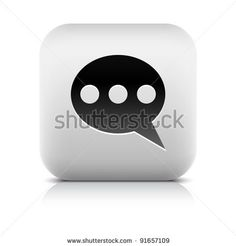 All web button this series internet icon http://www.shutterstock.com/sets/101711-stone-white-button.html?rid=498844 — Stone web 2.0 button chat room symbol sign. White rounded square shape with black shadow and gray reflection on white background. This vector illustration created and saved in 8 eps — #Royalty #free #stock #vector #illustration for $0.28 per download