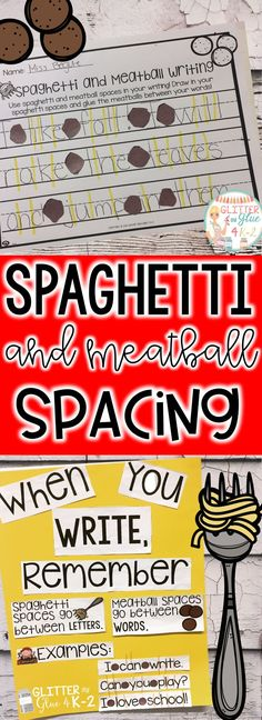 Teach your students about correct spacing within their writing! Includes writing paper and printables for an anchor chart. Keywords: kindergarten, writing, spacing, writers workshop, fine motor, anchor charts, intervention, literacy, literacy centers, spaghetti and meatball writing, spacing, handwriting