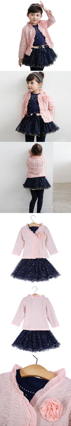 Girl Clothes Sets Spring Fall Baby Girls Clothing Set 3pcs Suit Girls Flower Coat+Blue T shirt+Tutu Skirt Kids Clothes Suits $14.99