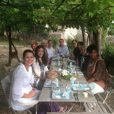 We set the table under the vines for the first night's dinner and it looks so lovely.  Just as we sat down in started to rain so we had to take everything inside.  First lesson of hospitality- be flexible!