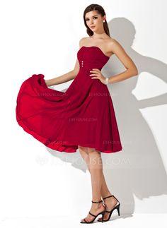 Empire Sweetheart Knee-Length Chiffon Bridesmaid Dress With Ruffle Beading (007020708) - JJsHouse