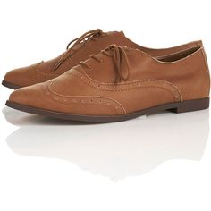 TOPSHOP MATHS Tan Leather Brogues - Dinosaurs On A Spaceship