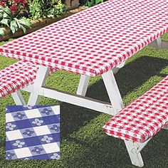 Deluxe Picnic Table Cover set - Red: Perk up your picnic?and have clean surfaces instantly?with this cover set. Flannel-backed vinyl wipes clean easily; elasticedged covers fit a table up to and two benches up to each. Garden Picnic Bench, Picnic Table Bench, Outdoor Tablecloth, Patio Table, Diy Table, Dinning Table, Patio Furniture Covers, Lawn Furniture, Picnic Table Covers