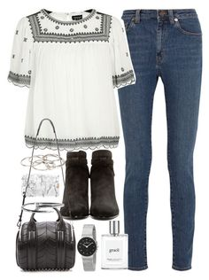 """""""Emma Roberts inspired outfit with jeans and suede boots"""" by ferned on Polyvore featuring Yves Saint Laurent, Topshop, Alexander Wang, Pieces, Skagen and philosophy"""