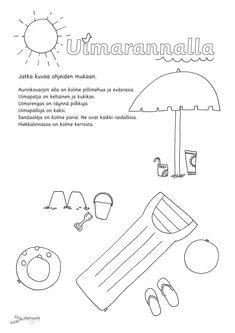 Kesä - Värinautit Special Education, Kindergarten, Preschool Math, Word Search, Content, Words, Drawing, Spring, Kindergartens