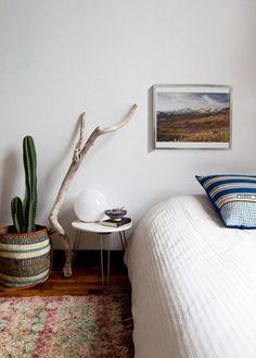 low bed + rug + smal