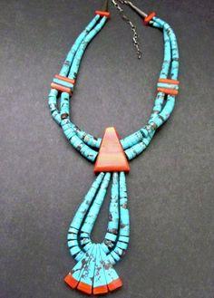SANTO DOMINGO PUEBLO Kingman Turquoise Necklace with Orange Spiny Oyster Shell