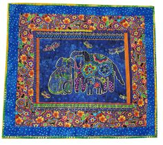 Wall Quilt in Laurel Burch Bright Dog Print by Sieberdesigns on Etsy