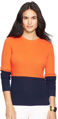 Ralph Lauren Petite Color-Blocked Cotton Sweater - Shop for women's Sweater - orange/capri navy Sweater