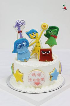 Inside Out Birthday Cake Icing cookies decoration