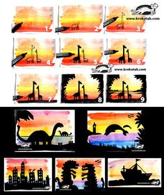 Sunset SILHOUETTES. Easy step by step tutorial. My kids will love this. Sunset Silhouette, Silhouette S, Elementary Education, My Children, Lesson Plans, My Boys, Primary Education, Lesson Planning, Primary Teaching