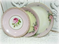 Vintage Roses Mismatched China Small Plates set of 3