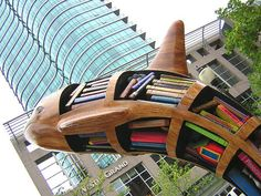 A bookshelf sculpture outside the public library in Vancouver, B.C.