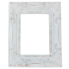 "Ornate open-back wood picture frame in distressed white.    Product: Picture frameConstruction Material: WoodColor: Distressed whiteFeatures: Open back frameDimensions: 14"" H x 11"" W"