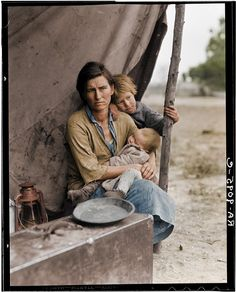 Migrant Mother. (Colorized Photo) 1936.