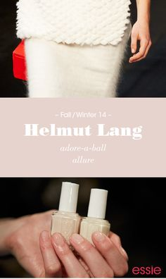 With creamy wools and sheep skin being the sensory focus of Helmut Lang's runway, the sheer delights of 'allure' and 'adore-a-ball' were a perfect choice #essie #NYFW