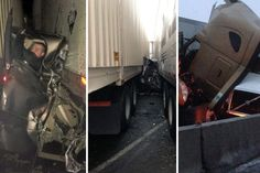 World's Luckiest Man Walks Away With Only Minor Cuts After Two Trucks Sandwich His Pickup