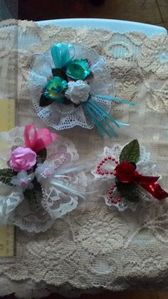 Beautiful lace ornaments by VictorianRoseTeaCo on Etsy