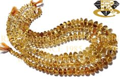 Citrine Smooth Roundel (Quality D) Shape: Roundel Smooth Length: 36 cm Weight Approx: 53 to 55 Grms. Size Approx: 6.5 to 12 mm Price $5.44 Each Strand