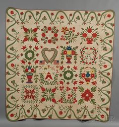 """Pieced and Appliqued Cotton Baltimore Album Quilt, signed and dated on a center block with a heart motif inscribed """"By Miss Mary Ann Grooms/Democracy is my Motto/Baltimore/1847"""""""