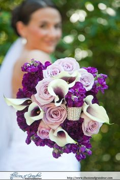 Purple and White bridal bouquet - by Illusion of Grandeur Photography http://www.illusionofgrandeur.com