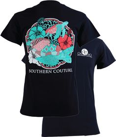 Southern Couture Preppy Swimming Sea Turtles Flowers Beach T-Shirt