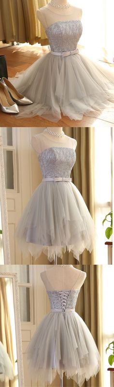 Prom Dresses,Short Prom Dresses,Silver Prom Dresses,High Low Prom Dresses,Elegant Prom Dresses,Homecoming Dress,Homecoming Dresses,Short Homecoming Dresses,Silver Tulle Homecoming Dresses,Tiered Skirt Homecoming Dresses,Party Gowns With Lace Back Up,Cheap Party Dress,Short Graduation Dresses