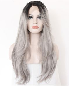 2017 New Arrival Granny Grey Ombre Straight Synthetic Lace Front Wigs 180% Density #1B/Grey Long Straight Hair Wig