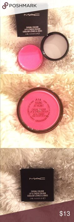 MAC Cosmetics - Lip & Cheek Color - Young at Heart ✅ Shipped ASAP ✅ Bundles (customizable) ✅ Prices negotiable  ✅ Questions  ✅ Poshmark compliance ❌ Trades ❌ PayPal or off-app sales  A beautiful bright pink MAC cosmetics lip and cheek creamy colour in the large 0.43 US FL OZ/13 mL size. I used it once to test it, that's why the generous discount on this listing!😊 MAC Cosmetics Makeup Blush