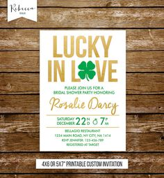 lucky in love bridal shower invitation st patricks day bridal shower invitation for couples. Available at Boardman Printing