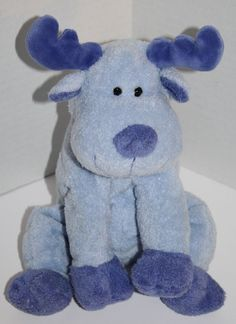 "Ty Pluffies Moose Bloose Blue Plush Baby Stuffed Animal Toy 2006 Tylux 10"" #Ty"