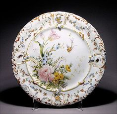 Large Antique French Faience Charger w/ Insects