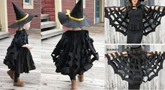Tutorial for spider web cape Easy Halloween Costumes For Women, Fete Halloween, Diy Halloween Decorations, Diy Costumes, Halloween Kids, Halloween Crafts, Bricolage Halloween, Witch Costumes, Halloween Halloween