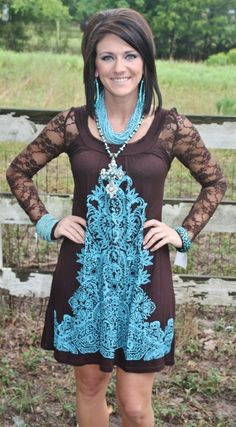 Its A Good Night For Dancing Brown and Turquoise Dress Price: $29.95 Size: Small - 2XL http://www.giddyupglamouronline.com/catalog.php?item=5438