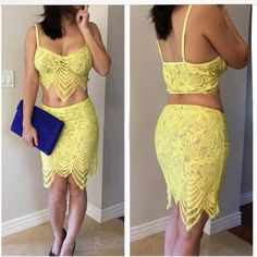 "FINAL PRICE DROP ‼️Havana  Lace crop top skirt set Brand New Never worn, Cute Yellow Lace Crop Top with matching Skirt, Adjustable straps , pullover design , Run small with stretch, quality lace material , mesh lining cup not see through.  Skirt has a side zipper , lined. Model wearing size small 5'3"" 118 lbs.    Not for love and lemons brand.  No offers please as this is lowest For Love and Lemons Dresses Mini"