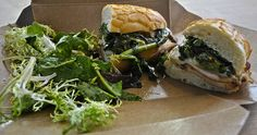 pork loin sandwich with broccoli rabe and provolone at 144 King Art Cafe in San Francisco