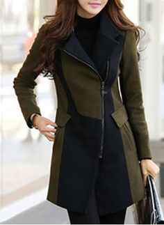 Cotton & Cotton Blend Military Green Long Long Sleeve Lapel Coats & Jackets