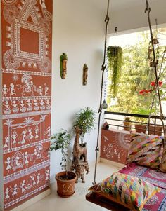Design Decor & Disha: Indian Balcony Decor, Balcony Decor, Balcony Grden, Garden Accessories, Warli Painting On Wall,