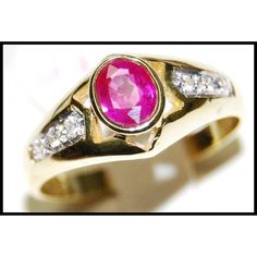 http://rubies.work/0396-sapphire-ring/ Solitaire Diamond 18K Yellow Gold Ruby Jewelry Ring by BKGjewels