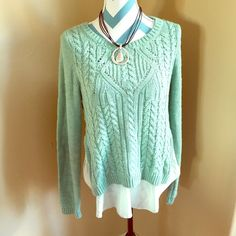 Anthropologie Moth Sweater, Large NWT This is an absolutely gorgeous sweater from Anthropologie. The brand is Moth in a size Large. In a light turquoise blue family. It has a Cami underneath it and the sweater is a crop. It is comfy & perfect for fall/winter weather. The necklace is not for sale. Thanks so much for visiting my closet. I am open to offers but will decline lowballs. Anthropologie Sweaters Crew & Scoop Necks