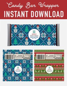 SALE Christmas Candy Bar Wrappers labels - ugly sweater christmas pattern Hershey Candy Bar Wrappers labels - christmas decoration - christmas printables - instant download - favor labels wrapper - mineral water label - Christmas DIY kit - DIY christmas - christmas print - xmas printable - christmas party - digital download - digital printable - chrtmas pattern -  Hershey's 1.55 oz - holiday printable - holiday DIY decoration -  holiday labels - printable christmas - party printable Christmas Candy Bar, Christmas Christmas, Xmas, Holiday, Hershey Candy Bars, Hershey Bar, Candy Bar Labels, Candy Bar Wrappers, Printable Labels