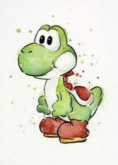 Yoshi Watercolor - Art Print Giclee ART PRINT of my original watercolor painting of Yoshi character from my favorite video game. - High quality archival pigment inks - prints: on cotton fine art paper - 13 prints: on Epson watercolor paper Mario And Luigi, Mario Bros, Mario Kart, Watercolor Canvas, Watercolor Paintings, Watercolor Design, Canvas Art, Art Paintings, Album Design