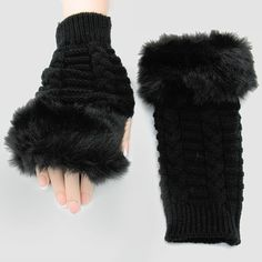 Black Faux Fur Trimmed Knitted Fingerless Winter Gloves Free Shipping. Get the lowest price on Black Faux Fur Trimmed Knitted Fingerless Winter Gloves Free Shipping and other fabulous designer clothing and accessories! Shop Tradesy now