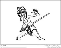 Star Wars Clone Wars Coloring Pages Jedi. Star Wars Coloring Pages Ahsoka Tano was a real hero from the Clone  Jedi Padawan Togruta and Yoda Grand Master Cartoon Bank Robber Page Pinterest