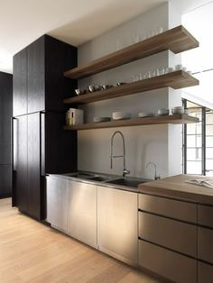 Open shelf kitchen cabinet ideas contemporary ideas contemporary kitchen shelves kitchen with wood open shelves interior . Kitchen Design Open, Contemporary Kitchen Design, Interior Design Kitchen, Kitchen Designs, Post Contemporary, Dining Cabinet, Cabinet Decor, Cabinet Ideas, New Kitchen