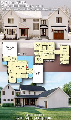 Architectural Designs – Selling quality house plans for over 40 years add on the garage/master suite in the future Sims House Plans, New House Plans, Dream House Plans, Home Plans, Unique House Plans, Small House Floor Plans, The Plan, How To Plan, Architectural Design House Plans