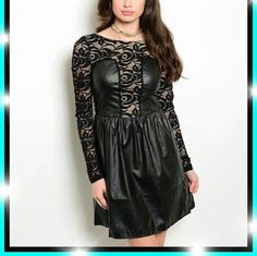 Price⬇Sexy Black dress Trendy fit and flare short dress has a sheer floral mesh back, long sleeves and center panel inset(under layer shown in pic 3).  Shirred waistline and dress has a stretch 100% POLYESTER CONTRAST: 92% NYLON 8% SPANDEX Size: S-M-L Please don't buy this listing I'll make your own with your requested size. Dresses Mini