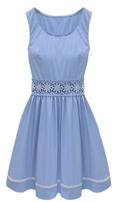 Blue Sleeveless Crochet Lace Embellished Waist Skater Dress: